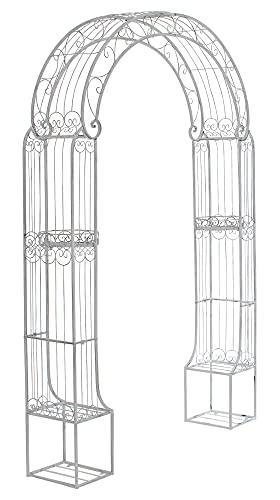 CLP Arche De Jardin en Fer Forgé Alessia I Hauteur du Passage 228 cm Largeur 123 cm I Arceau A Rosiers I Support pour Plantes Grimpantes Blanc Antique