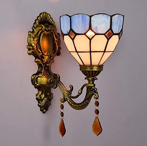 Wzglod Tiffany Style Vintage Luz de Pared Lámpara de Pared 6 Pulgadas Vintage Vídeos de la Pared del Dormitorio el Pasillo de la Sala de Estar E27