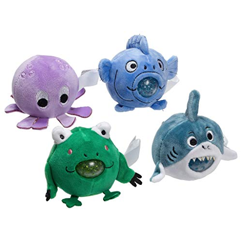Ariel EDGE Stress Buster Toy Stress Relief Ball for Kids/Adult (Set of 3piece /4piece)-Squeeze Squishy Ball with Soft Plush Cover on The Outside-Multiple Character (Ocean kit-4pcs)