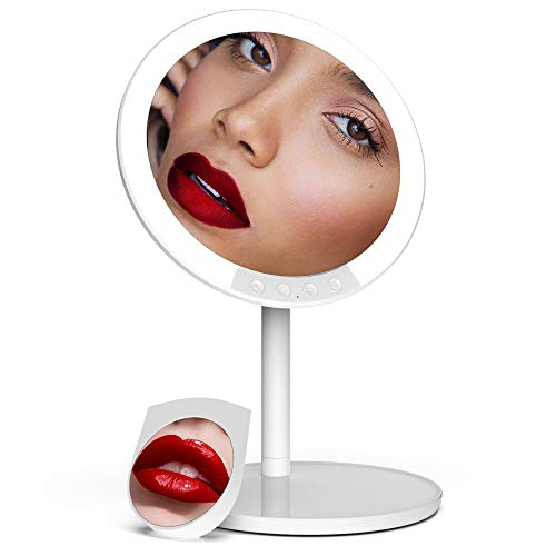 Makeup Mirror with Lights, 66 LED Lighted with Detachable 7X Magnifying Mirror, Tricolor Lighting, Rechargeable, 180° Adjustable Rotation, Vanity Mirror with Lights for Home Travel Best Woman Gift