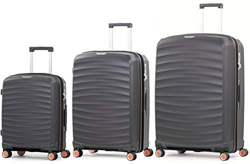 Rock Sunwave 3 Piece Set (55/66/79cm) Expandable Hard Shell Suitcase Charcoal