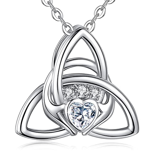 EUDORA Irish Claddagh Necklace Celtic Triquetra Trinity Knot Sterling Silver Necklace Gift for Women Mom Girl Pendant 18' Chain