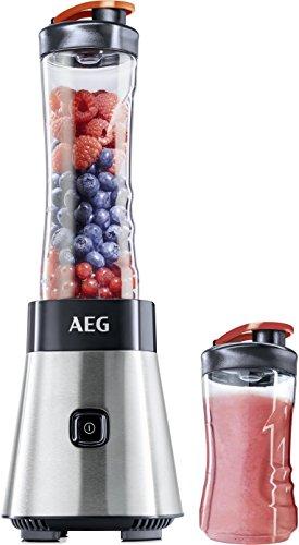 AEG MiniMixer SB 4PS Standmixer (0,4 PS-Power-Motor, 23.000 U/Min, spülmaschinen- und bruchfeste 600ml und 300ml Tritan-Flasche, 4-Klingen Messer, Pulse-Taste, gebürstetes Edelstahl)