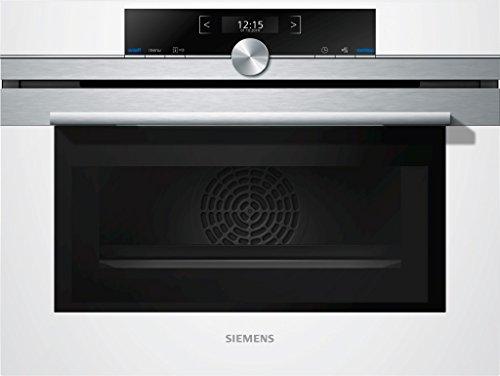 Siemens CM633GBW1 combi-keukenoven, 45 cm, wit/roestvrij staal