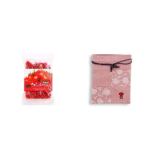 [2点セット] 収穫の朝 さくらんぼグラッセ ラム酒風味(180g)・おねがいさるぼぼ 巾着【ピンク】