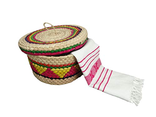 Pack of 1 Mexican handmade palm basket and 1 woven napkin cloth (servilleta mexicana) 100% cotton Eco Friendly tortilla warmer (tortillero) for party, fiesta decoration