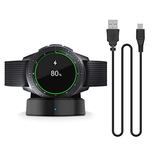 FASTSNAIL Cargador para reloj Samsung Galaxy Watch 42 mm y 46 mm, cargador inalámbrico rápido para reloj inteligente Samsung Galaxy Smart SM-R800, R810 y R815, portátil, con cable USB Negro