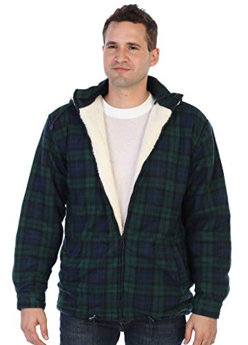 Gioberti Mens Sherpa Lined Flannel Jacket with Removable Hood, Green/Navy, XXL