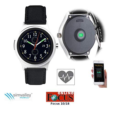 simvalley MOBILE Smartwatch Damen: Smartwatch mit Herzfrequenz-Messung, Bluetooth 4.0, für iOS & Android (Smartwatch mit Herzfrequenzmessung)