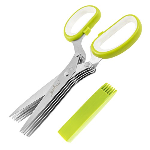 Jenaluca Herb Scissors Stainless Steel - Multipurpose Kitchen Shear with 5 Blades and Cover with Cleaning