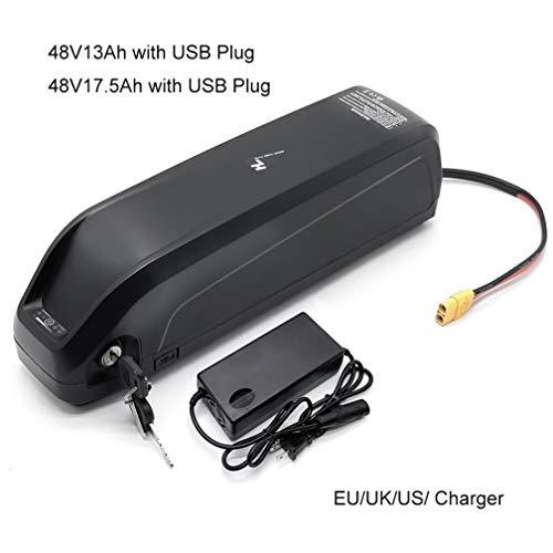Qingmei Li-Ionen-Akku mit USB 48V13Ah 48V 17AH E-Bike-Unterrohrbatterie mit Ladegerät für 250W 500W 750W 1000W Motor (Size : 48V13Ah)