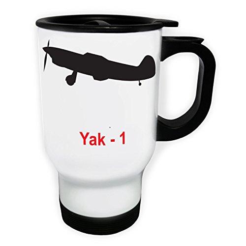INNOGLEN Yak - 1 Jet d'avion Plane Pilot Jet Vintage Tasse de Voyage Thermique Blanche 14oz 400ml c646tw