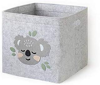 Lucky Sign - Boîte de Rangement Enfant Panier à Jeux pour Fille et Garcon Bac à Jouets Chambre Bebe, 33x33x30cm - Bébé Koala