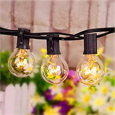 SUNSGNE 25Ft Outdoor Patio String Lights with 25 Clear Globe G40 Bulbs,UL Certified for Patio Porch Backyard Deck Bistro Gazebos Pergolas Balcony Wedding Gathering Parties Markets Decor, Black