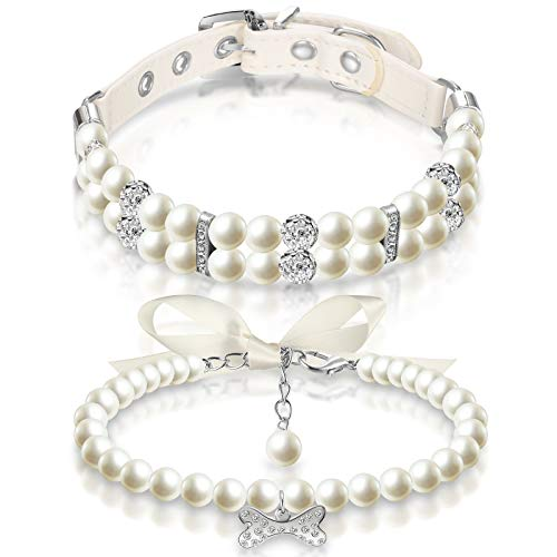2 Pieces Dog Pearl Collars and Pet Pearl Necklace Set Dog Leather Pearl Collar with Crystal Rhinestone Cat Pearl Neck Strap for Dogs Cats Puppy Kitten (L)