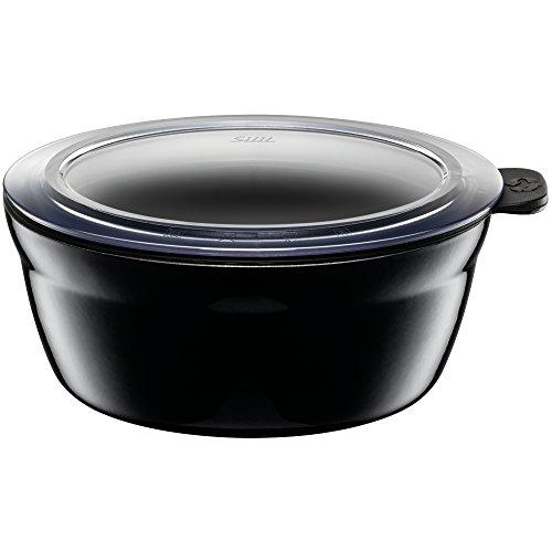 Silit Fresh Bowls Vorratsdose Ø 16 cm, Silargan Funktionskeramik, Multifunktions-Schale, luftdichter Aroma-Deckel, spülmaschinengeeignet, schwarz