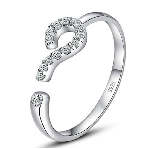 WUSUANED Question Mark Ring Open Ring Adjustable Simple Fashion Style Personality Jewelry for Women (question Mark Ring)