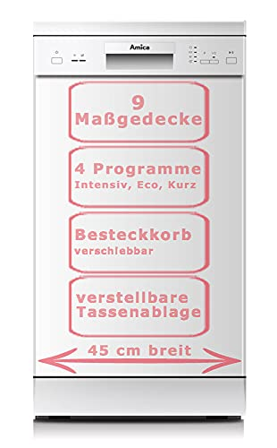 Amica GSP 14746 W Geschirrspüler, freistehend, 9 Gedecke, A++, weiß (45 cm), Tasten, 1,5 m, 1,5 m