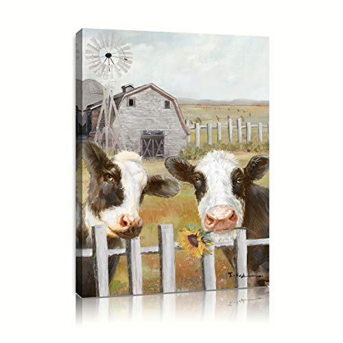 Barn Cow Canvas Wall Art: Cow Carrying Sunflower Picture Standing in The Fence Gray Barn White Windmill Decor for Kitchen Framed Ready to Hang (24'x32'x1 Panel)