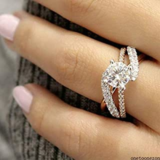 Digital baby Exquisite Ring Two Tone 14K Solid Rose Gold Round White Sapphire Accross Diamond Jewelry Anniversary Proposal Gift Party Bridal Engagement Wedding Band Rings for Bride Women Size 5-10