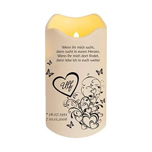 Trauern ist Liebe LED Kerze Trauer | Suche im Herzen | Personalisierbare elektrische Kerze mit Spruch | Künstliche Kerze | flammenlose Kerze | Farbe Creme | Höhe: 18 cm / Ø 10 cm