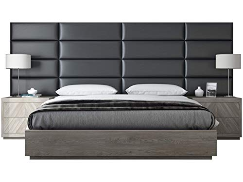 """VANT Upholstered Headboards - Accent Wall Panels - Packs of 4 - Deluxe Leather Greystone - 39"""" Wide x 11.5"""" Height - Easy to Install - Twin - King Size Headboard"""