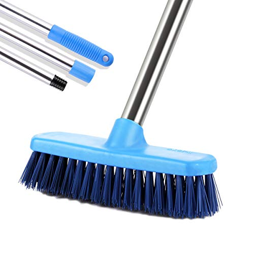 MEIBEI Floor Scrub Brush with Adjustable Long Handle-47.3', Stiff Bristle Grout Brush Tub and Tile Brush for Cleaning Bathroom, Patio, Kitchen, Wall and Deck