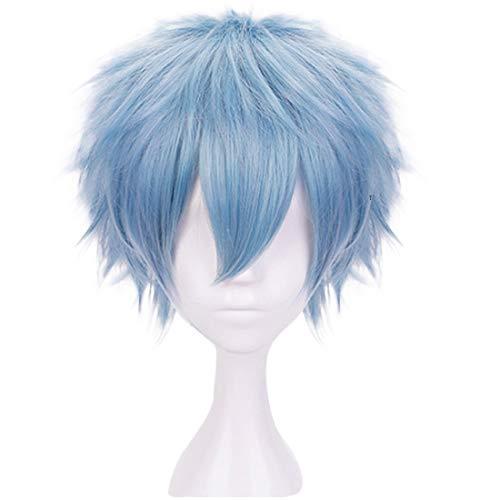 JoneTing Light Blue Wigs for Boy Short Wavy Wigs Blue Cosplay Wig for Halloween Costume Blue Wig