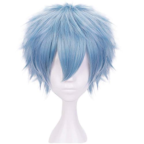 JoneTing Light Blue Wigs for Boy Short Wavy Wigs Blue Cosplay Wig for Halloween Costume Blue Wig