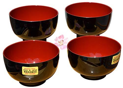 Gifts Of The Orient GOTO®® - Miso Cuencos Tapas X 4 En El Tradicional Negro & Rojo 11Cm De Diámetro