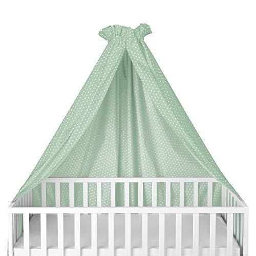 Sugarapple Himmel für Kinderbetten, Babybetten seitlich, quer verwendbar, mint mit weißen Sternen, 100% Öko-Tex Baumwolle, 280x170 (BxH) cm