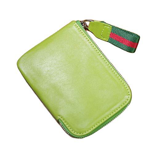 YQQMC Billetera corta para hombre, de piel auténtica, suave, compacta, con cremallera, duradero, color verde