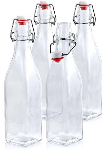 Estilo Swing Top Easy Cap Glass Beer Bottles, Square, 16 oz, Set of 4