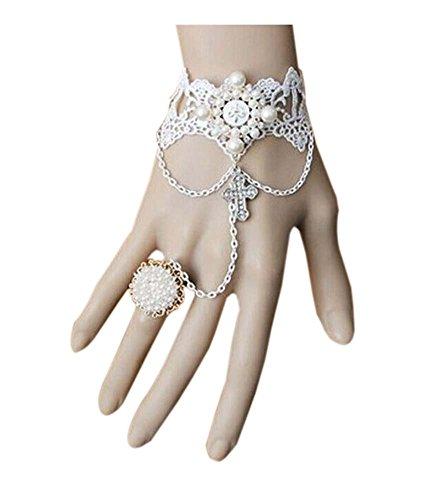 Bracelet en perle de bande de bracelet de mariée rétro avec anneau pour le parti, blanc