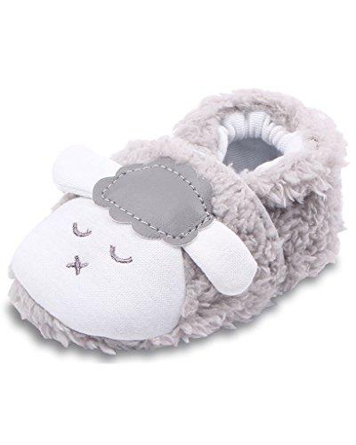 Minetom Baby Jungen Mädchen Krabbelschuhe Niedlich Lamm Booties Weiche Sohle Kleinkind Kinderschuhe Grau 13cm
