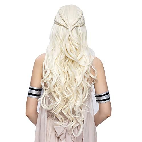 Long Curly Blonde Braid Cosplay Wig for Women Halloween Costume Hair Wig (Light blonde)