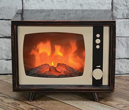 ELYYT - Chimenea realista y compacta con efecto de llama en movimiento LED, resplandor de corazón con chimenea eléctrica, aspecto de TV para interiores
