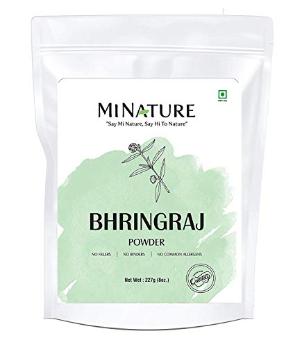 mi nature Bhringaraj powder Eclipta Prostrata, leaf powder / 100% Pure, Natural and Organic / (227g / (1/2 lb) / 8 ounces) - Resealable Zip Lock Pouch