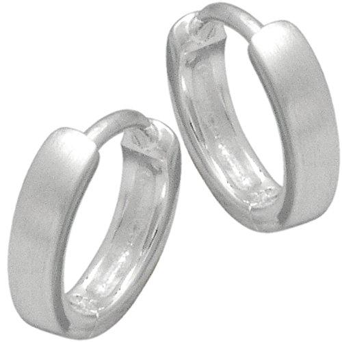 Vinani Klapp-Creolen unisex klein mattiert Sterling Silber 925 Ohrringe CKM