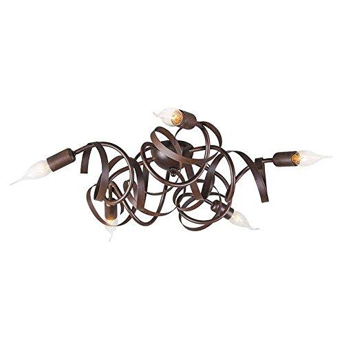 QAZQA Klassisch/Antik/Landhaus/Vintage/Rustikal Rustikale braune Deckenleuchte/Deckenlampe/Lampe/Leuchte - Ricciolo 5-flammig/Innenbeleuchtung/Wohnzimmerlampe/Schlafzimmer/Küche S