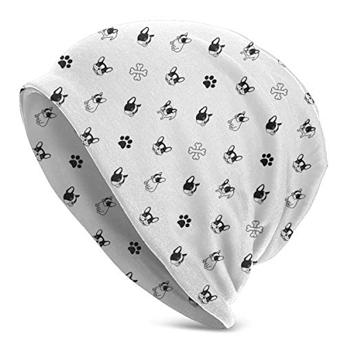 QIUYELONG Dog Breed French Bulldog Bone Dog Paw Foot Print Unisex Cuffed Knit Hat Cap