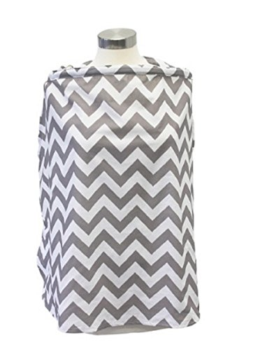 New Itzy Ritzy Breastfeeding Nursing Cover, Gray Chevron