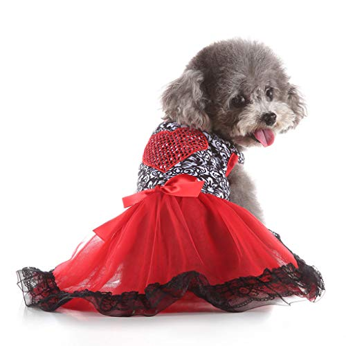 YWLINK Party Hochzeit Kleid Creative Sexy Spitze Patchwork Haustier Liebesherz Rock Haustier Hunde Elegant Bow KostüMe(Rot,S)