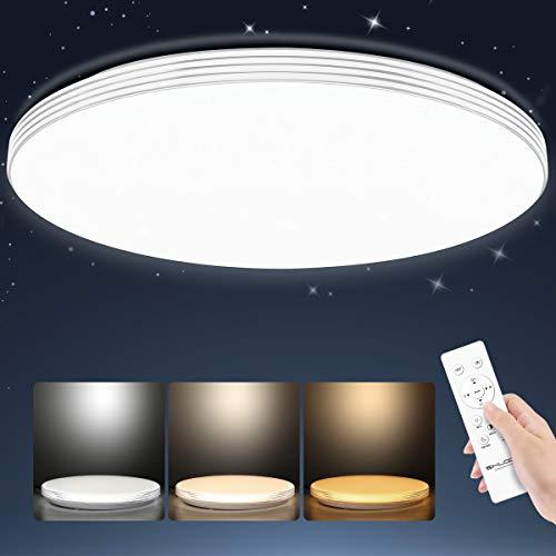 SHILOOK Lámparas Led de Techo Infantiles Redondo Regulable con Mando a Distancia 24W para Salón Dormitorios Juveniles Cocina Comedor, 3000K a 6500K, Modernas 40cm Blanca