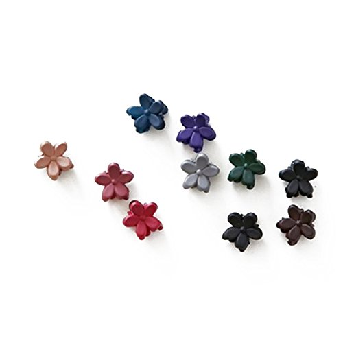 WINOMO 10pcs Mini fleur en forme de griffes cheveux épingles à cheveux pinces à cheveux pour les filles (couleur aléatoire)