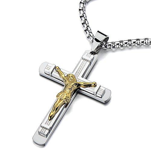 COOLSTEELANDBEYOND Crucifijo Cruz, Collar con Colgante de Hombre, Cruce, Acero Inoxidable, Oro Plata Dos Tonos, 75cm Cadena de Trigo