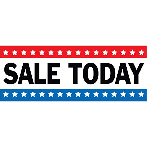HALF PRICE BANNERS | Sale Today Vinyl Banner -Mesh Wind Resistant 3X8 Foot -Stars | Includes Zip Ties | Easy Hang Sign-Made in USA