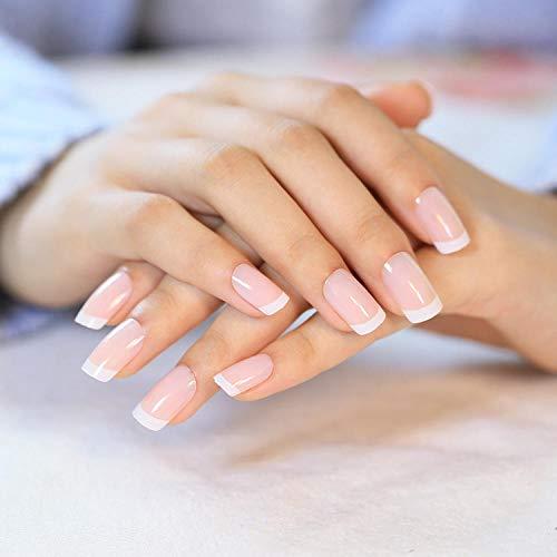 TJJF Fashion White French Nails 24 Pcs/Set Classique Full Cover Short Oval False Nails Faux French
