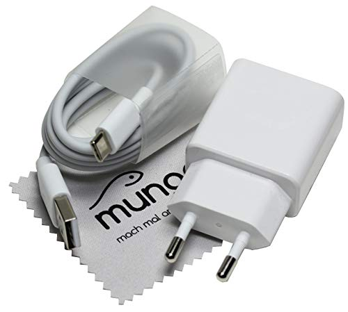 Ladegerät für Original Huawei HW-059200EHQ AP32 2A Quick Charge Typ-C AP51 Huawei P30, P20, P10, P9, Mate 20, Mate 10, MediaPad M5 1m Schnell USB Ladekabel mit mungoo Displayputztuch