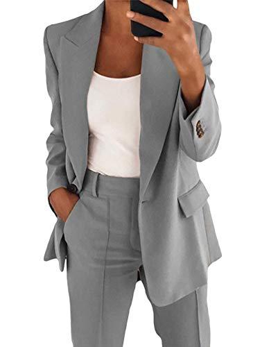 Onsoyours Blazer para Mujer Elegante Mangas Largas Chaqueta de Traje con Botones Dorados Corte Slim de Negocio Oficina Color Sólido Gris XL